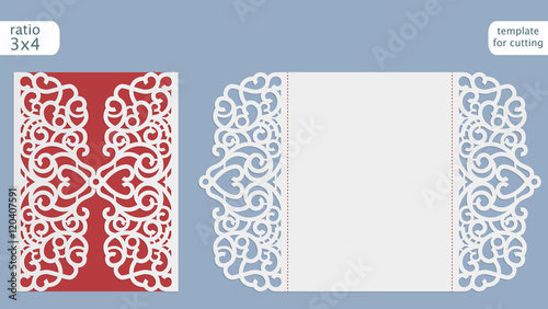 Laser cut wedding invitation card template vector cut out for Free laser cutter templates