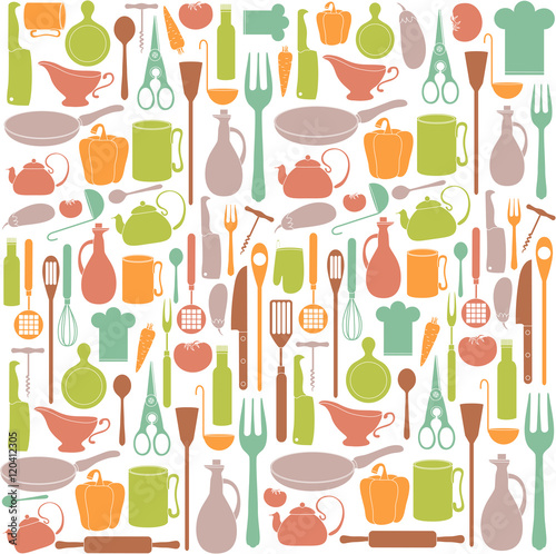 Tapeta ścienna na wymiar pattern of kitchen items and vegetables