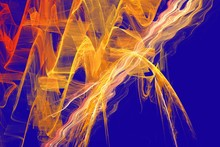 Yellow Chaos On A Blue Background. Abstract Fractal Background. Psychedelic Visions.