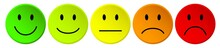 Row Of Colorful Vector Rating Smiley Buttons / Reihe  Bewertung Kritik Smilie Vektor Symbole Bunt