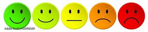 Fotografie, Obraz  row of colorful vector rating smiley buttons / Reihe  Bewertung Kritik Smilie ve
