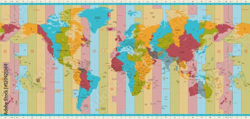Detailed World map standard time zones – kaufen Sie diese ...