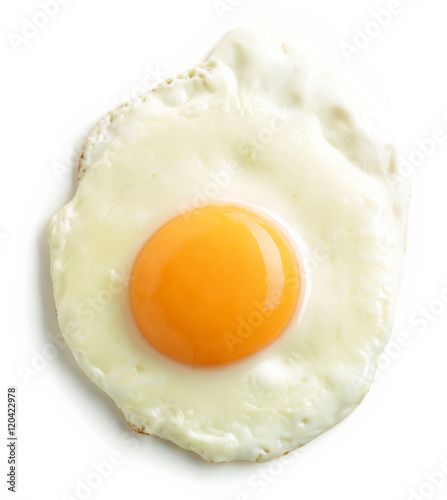 Poster Ouf fried egg on white background