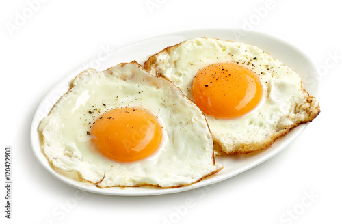 Door stickers Egg fried eggs on white background