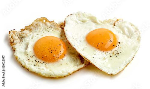 La pose en embrasure Ouf fried eggs on white background