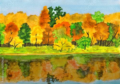 Foto op Aluminium Oranje Autumn forest, painting