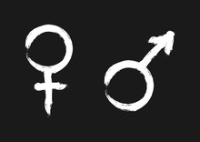 Male And Female Symbols. Sign Of Sexual Identity.