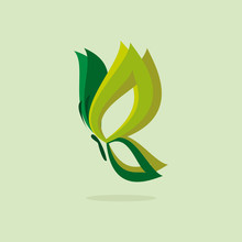 Eco Icon Green Butterfly Simbol