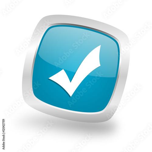 Fotografía  accept square blue glossy chrome silver metallic web icon