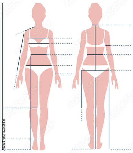 Obraz Female body in full length for measuring the size of the figure - fototapety do salonu
