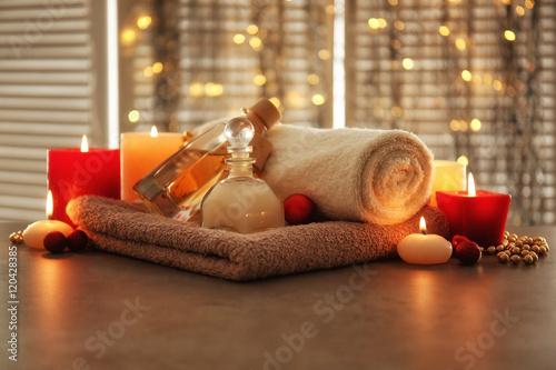 Poster Spa Christmas spa composition on table