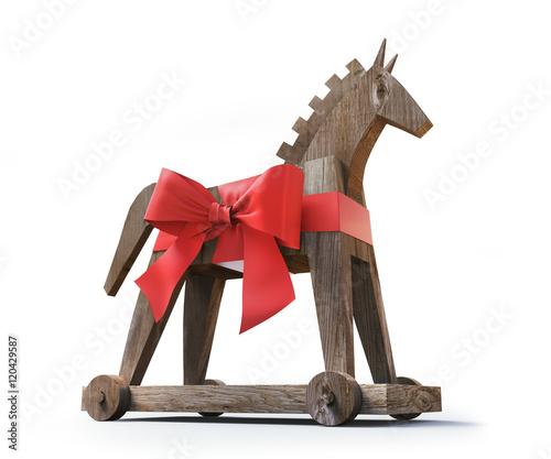 Valokuva  Trojanisches Pferd aus Holz vor Weiß