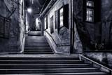 Fototapeta Uliczki - Moody monochrome view of Goldsmiths passage, in Sibiu, Romania,