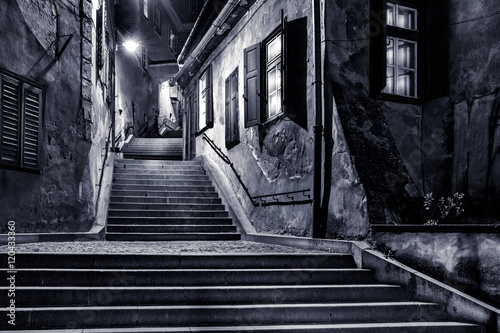 Photo Stands Narrow alley Moody monochrome view of Goldsmiths passage, in Sibiu, Romania,