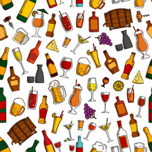 Aperitif Drinks And Cocktails Seamless Pattern