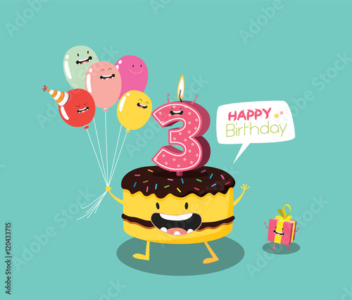 Happy Birthday Card Funny Cake Number Candle And Balloon Vector Illustration