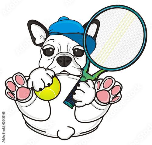 Boy Cap Keep Ball Net Tennis Racket Game Sport Dog Puppy