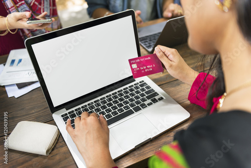 Fototapeta Credit Card Online Shopping Payment Laptop Technology Concept obraz na płótnie