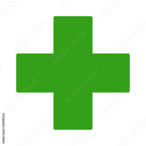 Foto European green cross pharmacy store sign flat icon for apps and websites