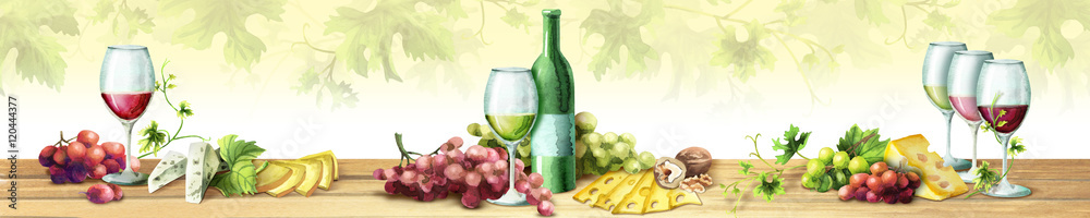 Panoramic image of wine and grapes. Can be used for kitchen skinali. Watercolor