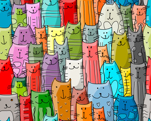 FototapetaFunny cats family, seamless pattern for your design