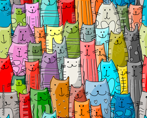 fototapeta na szkło Funny cats family, seamless pattern for your design