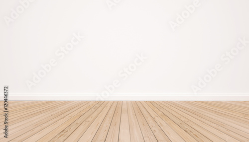 Fotografie, Obraz  Oak wood floor with white wall
