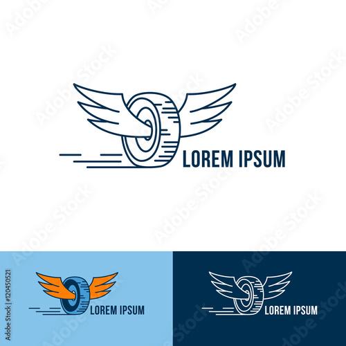 Car Wheel With Wings Logo Vector Logo Design Three Color Choices