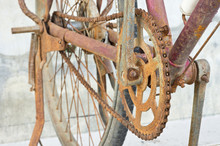 Old And Rusty Bicycle Chain And Gear