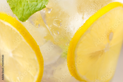 Foto op Canvas Frangipani Drink for hot summer days. Fresh lime and lemon lemonade. Select