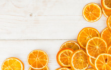 Natural Background Dry Sliced Oranges, Top View Close-up