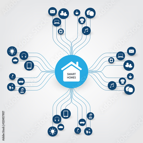 Smart Home Design Concept With Icons Digital Network