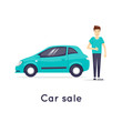 Car sale. Character. Flat design vector illustration.