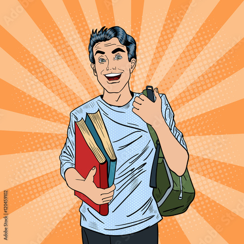 Smiling Positive Male Pop Art Student with Backpack and Books. Vector illustration