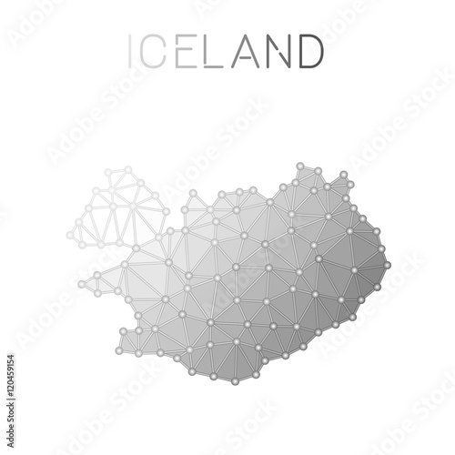 Iceland polygonal vector map. Molecular structure country map design ...