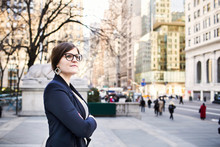 Confident Businesswoman Waiting Outside New York Public Library In City