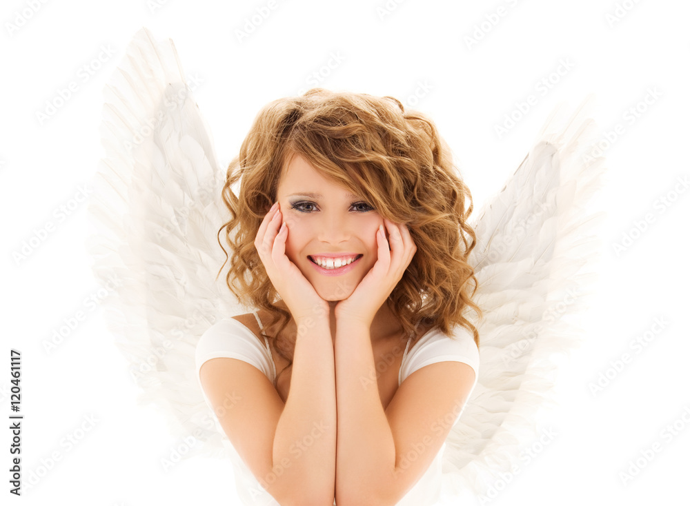 Fotografie Obraz Happy Young Woman Or Teen Girl With Angel Wings