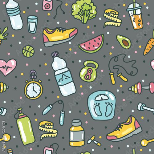 zdrowy-tryb-zycia-wektorowego-doodle-pociagany-recznie-plaski-ikona-set-ilustracja