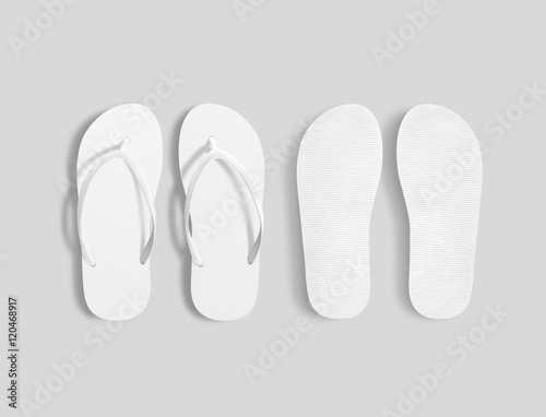 081e1604846c6 Pair of blank white beach slippers mockup, top and sole view 3d ...