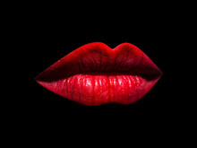 Red Sexy Female Lips Isolated On Black