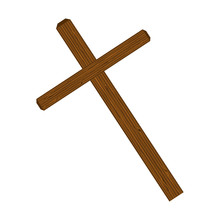 Cross Wooden Catholic Religious Christ Symbol. Vector Illustration