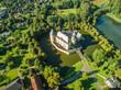 Leinwanddruck Bild - Luftaufnahme der historischen Jugendburg Borken, Deutschalnd