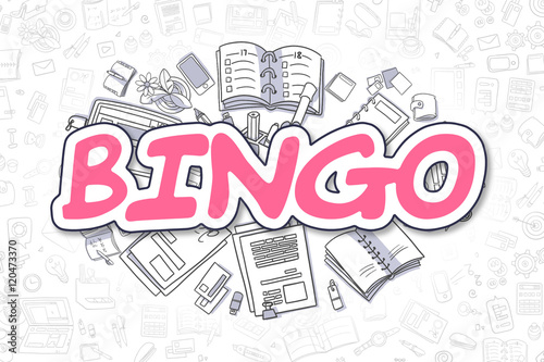 Bingo - Doodle Magenta Inscription. Business Concept. плакат