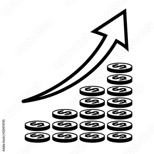 Vertical Bar Graph Diagram Representing Growth Icon Arrow Graph