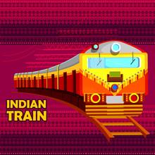 Indian Railway Train Representing Colorful India