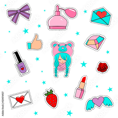 Foto op Aluminium Retro sign Fashion patch badges with lips, hearts, cute girl and other elem