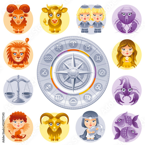 Capricorn element cute. Zodiac signs icon set