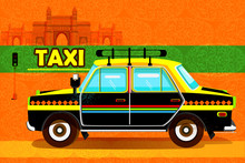 Indian Taxi Representing Colorful India