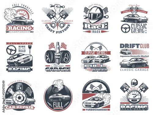 Leinwand Poster Satz Autorennen färbte Embleme, Aufkleber und Meisterschaftsrennenausweise