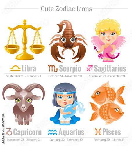zodiac astrological signs icon set cute cartoon characters